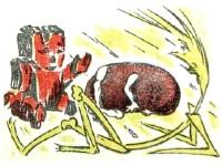 Соломинка, уголек и боб